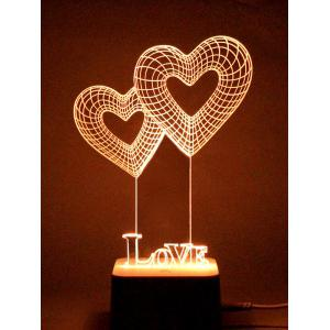 Colorful 3D Visual LED Heart Shape Touch Night Light With Remote Control -