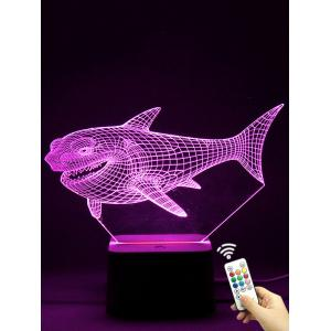 Colorful 3D Visual LED Shark Touch Night Light With Remote Control