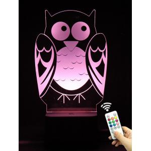3D Visual LED Touch Remote Control Colorful Owl Night Light - Transparent