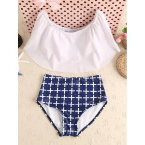 Off The Shoulder Flounce Plaid Swimwear - Blue And White - Xl