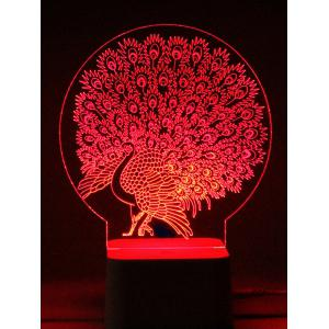 Remote Control Color Change 3D Peacock LED Night Light - TRANSPARENT