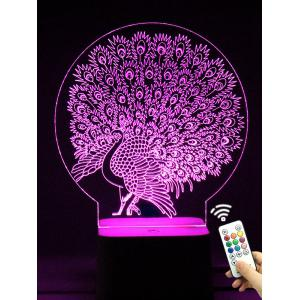 Remote Control Color Change 3D Peacock LED Night Light - Transparent - 9.5*7*5cm
