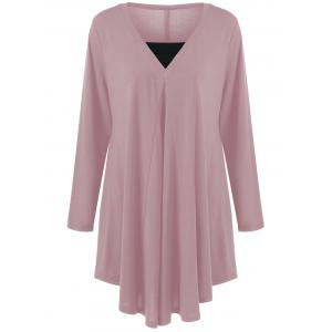 Long Sleeve Plus Size Asymmetrical Longline T-Shirt - Peony Pink - 4xl
