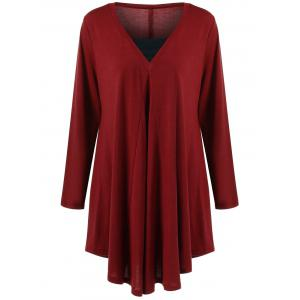 Long Sleeve Plus Size Asymmetrical Longline T-Shirt