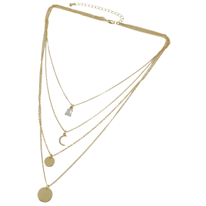 Rhinestone Moon Layered Necklace - GOLDEN