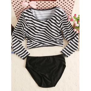 Stripe Long Sleeves Two Piece Swimwear - White And Black - L