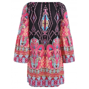 Bohemian Off The Shoulder African Style Print Dress - BLACK 2XL