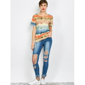 Color Block Funny Printed Tee - COLORFUL S