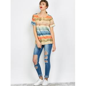 Color Block Funny Printed Tee - COLORFUL XL