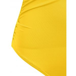 Off The Shoulder Ruffle One Piece Swimsuit - YELLOW L