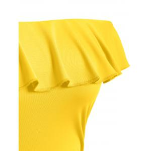 Off The Shoulder Ruffle One Piece Swimsuit - YELLOW 2XL