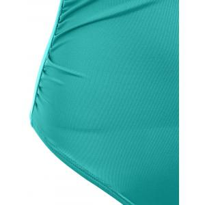 Off The Shoulder Ruffle One Piece Swimsuit - MARINE GREEN M