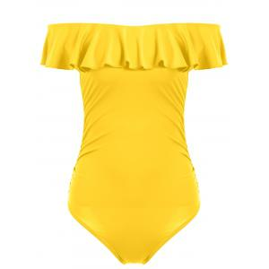Off The Shoulder Ruffle One Piece Swimsuit - Yellow - S