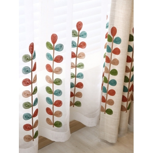 High Grade Embroidered Perforated Tulle Front Curtains -