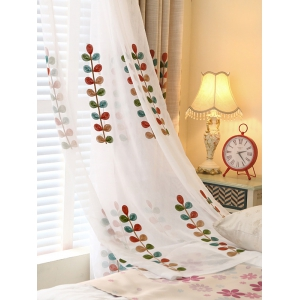 High Grade Embroidered Perforated Tulle Front Curtains
