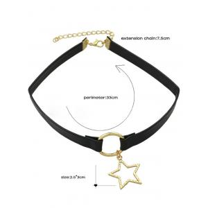 Star Faux Leather Choker Necklace - BLACK