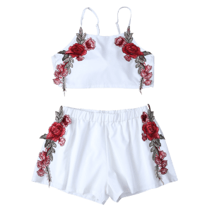 Floral Embroidered Bowknot Top with Flowery Shorts -