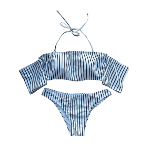 Striped Off The Shoulder Bikini Set - WHITE S