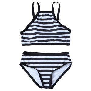 High Neck Striped Bikini Set - WHITE/BLACK XL