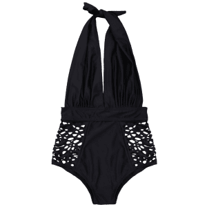 Cut Out High Waisted Plunge Swimsuit - BLACK XL