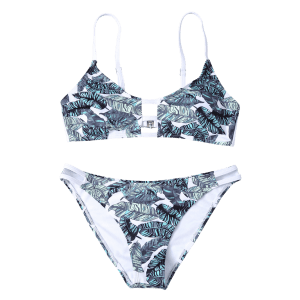 Hollow Out Leaves Print Bikini Set - COLORMIX M