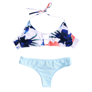 Cut Out Halter Top Bikini Set - BLUE XL