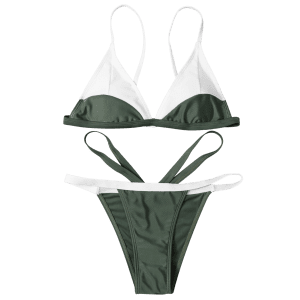 Cami High Cut Color Block Bathing Suit - ARMY GREEN L