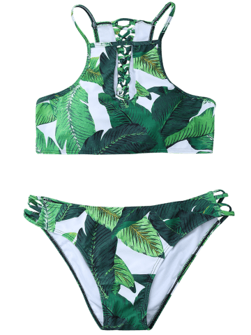 Trendy Palm Leaf High Neck Keyhole Bikini - L GREEN Mobile