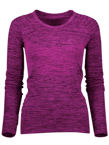 Buy Space Dye Long Sleeve Running Top - L PURPLISH RED Mobile