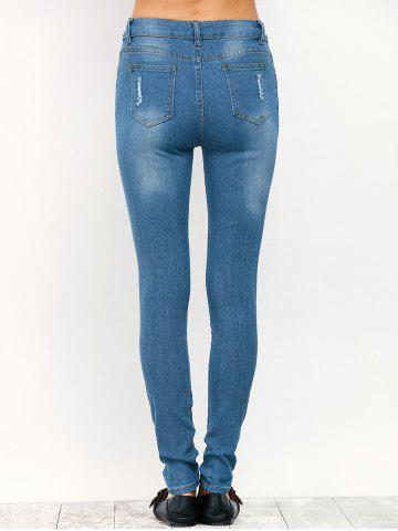 Sale Midi Rise Distressed Pencil Jeans - S BLUE Mobile