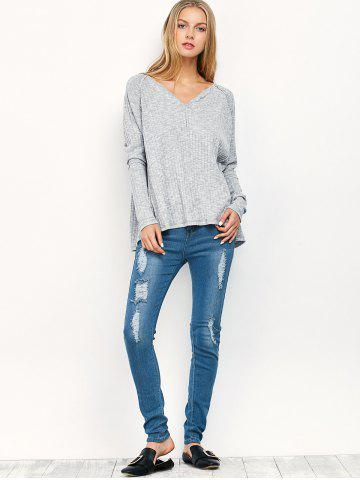 Chic Midi Rise Distressed Pencil Jeans - S BLUE Mobile