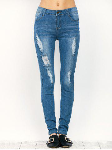 Best Midi Rise Distressed Pencil Jeans - S BLUE Mobile