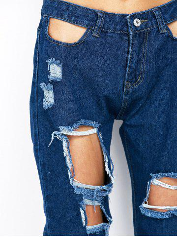 Best Ripped Pencil Jogger Jeans - S BLUE Mobile