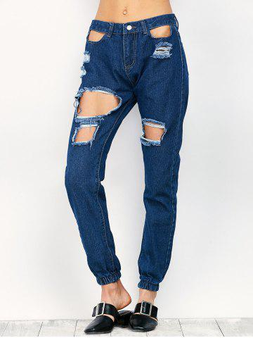 Latest Ripped Pencil Jogger Jeans - S BLUE Mobile