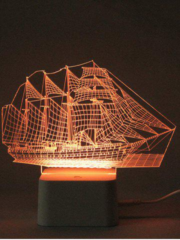 Store Colorful 3D Visual LED Ship Shape Touch Night Light With Remote Control - TRANSPARENT  Mobile