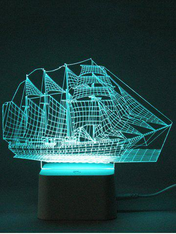 Shop Colorful 3D Visual LED Ship Shape Touch Night Light With Remote Control - TRANSPARENT  Mobile