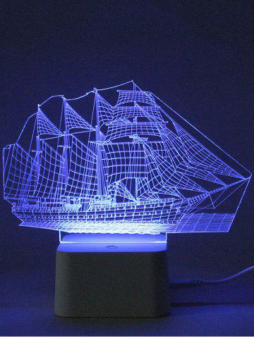 Hot Colorful 3D Visual LED Ship Shape Touch Night Light With Remote Control - TRANSPARENT  Mobile