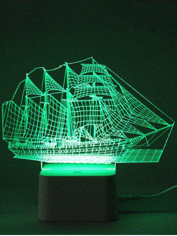 Latest Colorful 3D Visual LED Ship Shape Touch Night Light With Remote Control - TRANSPARENT  Mobile