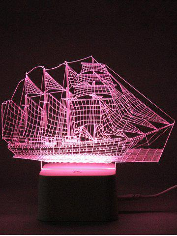 Online Colorful 3D Visual LED Ship Shape Touch Night Light With Remote Control - TRANSPARENT  Mobile