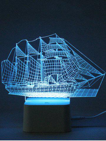 Unique Colorful 3D Visual LED Ship Shape Touch Night Light With Remote Control - TRANSPARENT  Mobile