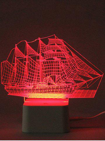 Fancy Colorful 3D Visual LED Ship Shape Touch Night Light With Remote Control - TRANSPARENT  Mobile