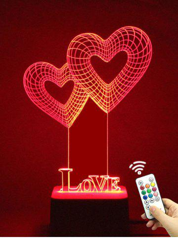 Unikalne kolorowe 3D wizualne LED Heart Shape Touch Night Light z pilotem
