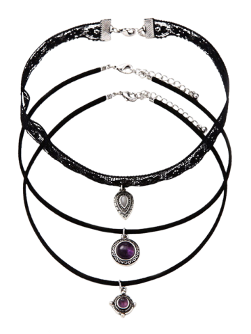 Shops Fake Amethyst Medallion Teardrop Choker Necklace Set BLACK