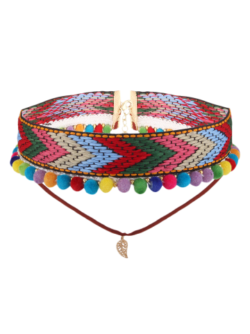 Chic Colorful Crochet Leaf Arrow Choker Necklace COLORFUL