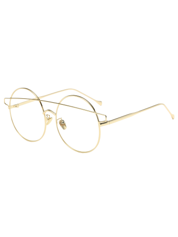 Trendy Transparent Lens Alloy Crossover Round Sunglasses GOLDEN