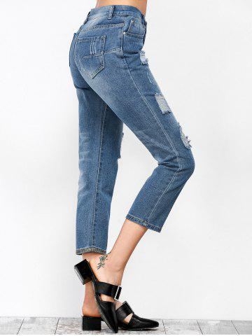 New Ripped Cropped Jeans - S DENIM BLUE Mobile