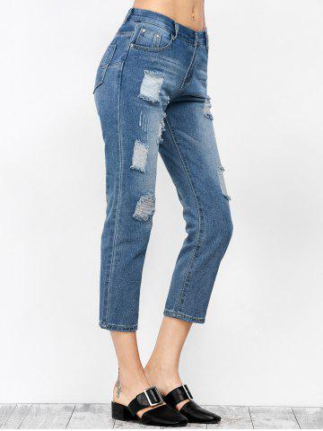 Affordable Ripped Cropped Jeans - S DENIM BLUE Mobile