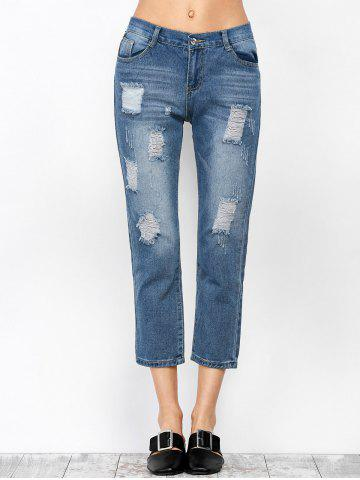 Latest Ripped Cropped Jeans - S DENIM BLUE Mobile
