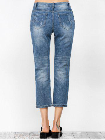Trendy Ripped Cropped Jeans - S DENIM BLUE Mobile