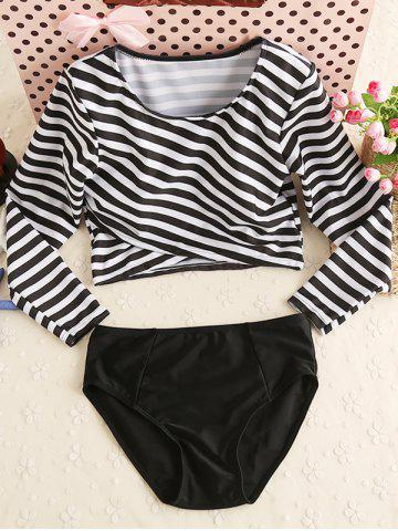 Stripe Long Sleeves Two Piece Swimwear - White And Black - Xl